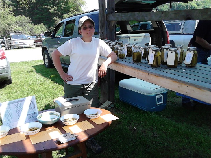Jaska at market with our samples all arranged