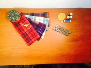 Most of the tools needed for kiltmaking, arranged artistically